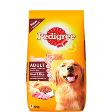 PEDIGREE ADULT DOG FOOD MEAT AND RICE 10KG RS 1650